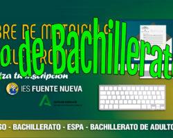 Matriculación alumnado 1º Bachillerato