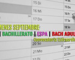Calendario exámenes de Septiembre 2021